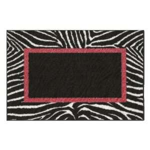 30 x 46 Black Zebra Border Accent Rug 17A10AT500