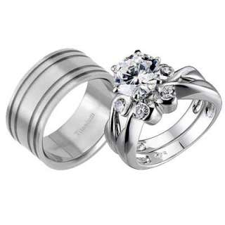 His And Hers 3 Pcs Mens Womens Sterling Silver Titanium CZ Wedding