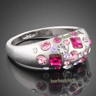 18K white GOLD Gp full of Swarovski crystals ring 1787