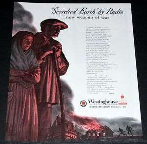 1944 OLD WWII MAGAZINE PRINT AD, WESTINGHOUSE RADIO, NEW WEAPON