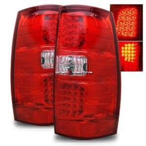 07 09 GMC Yukon LED Tail Lights   Red Clear Automotive