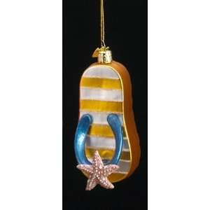 Kurt S. Adler Noble Gems Yellow Flip Flop Ornament