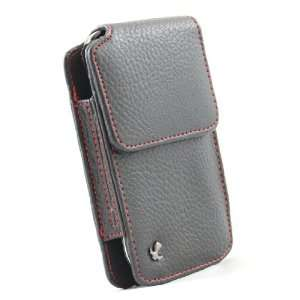 Black Leather Red Stitch Vertical Carrying Pouch Protective Holster
