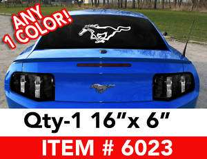 MUSTANG RUNNING HORSE LARGE DECAL STICKER 16x6 #6023
