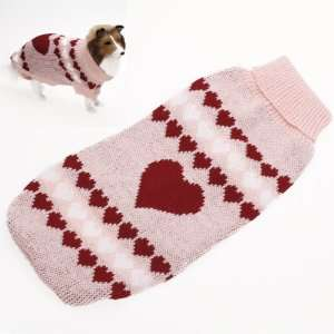Turtleneck Dog Sweater Clothes w/ Heart Patterns   Size L