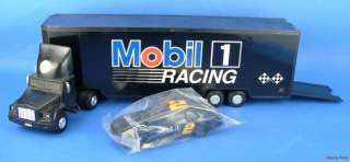 Mobil 1994 Plastic Toy Race Car Carrier Transporter