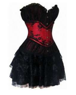 CC13 Burlesque Showgirl Black Red Satin Lace Corset Costume Moulin