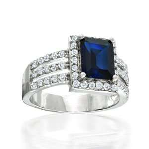 Bling Jewelry Sterling Silver Art Deco Blue Sapphire Color CZ Cocktail