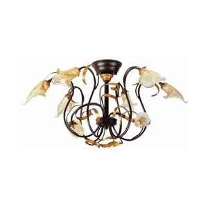 ET2 E20438 05 Amber Snapdragon Tropical / Safari Semi Flush Ceiling