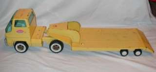 VINTAGE TONKA YELLOW LOWBOY FLATBED CAR / EQUIPMENT HAULER