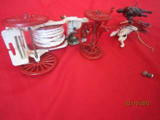 IRON HORSE DRAWN FIRE PUMPER TRUCK CART HOSE REEL CARRIAGE TOY