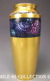 PICKARD HAND PAINTED ASTORS BLUE ENCRUSTED GOLD VASE