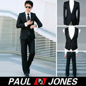 New Men's stylish slim fit wedding Dress Suit Black