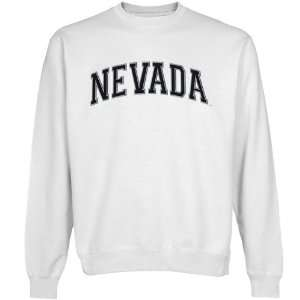 com Nevada Wolf Pack White Arch Applique Crew Neck Fleece Sweatshirt