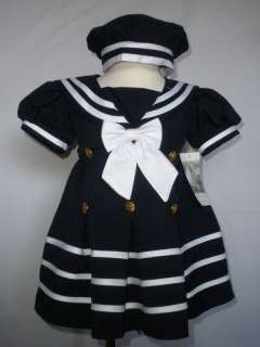 New Baby Girl & Toddler Easter Formal Nautical Sailor Dress 2T,3T,4T