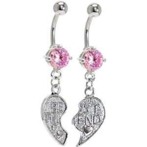 Pink Cubic Zirconia No. 2 BEST FRIEND Belly Rings Jewelry