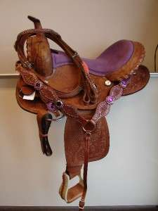 OIL PURPLE Western PLEASURE SHOW horse SADDLE BARREL SHOWMAN TACK SET
