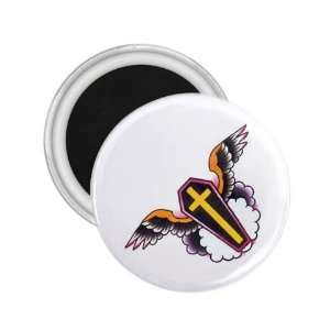 Tattoo Cross Angel Art Fridge Souvenir Magnet 2.25 Free