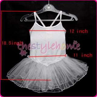 Girls Dancing Ballet Tutu Dress Skirt SZ 6 7T   White