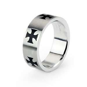 Stainless Steel Black Celtic Cross Men Band Ring Size 9