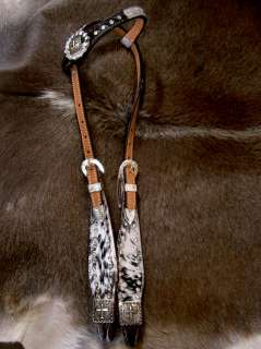 WESTERN LEATHER HEADSTALL HAIR ON CROSS BARREL RACING BLING TACK H8