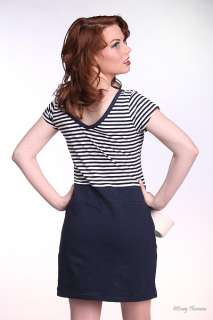 BROAD MINDED PLUS SIZE NAVY & WHITE STRIPED NAUTICAL SAILOR T SHIRT