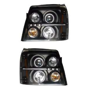 CADILLAC ESCALADE ESV 02 PROJECTOR HEADLIGHT HALO BLACK CLEAR AMBER