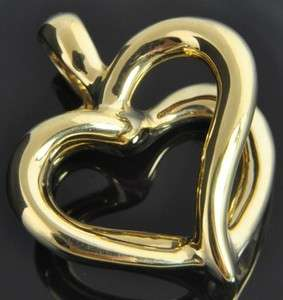 Yellow Gold Polished Open Double Heart 3D Slide Enhancer Charm Pendant