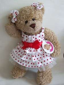Red Polka Dot Dress 2 Bows Teddy Bear Clothes fit 15 Build a Bear