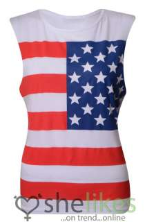 Ladies Sleeveless Stars And Stripes American Flag Print Tshirt Tee Top