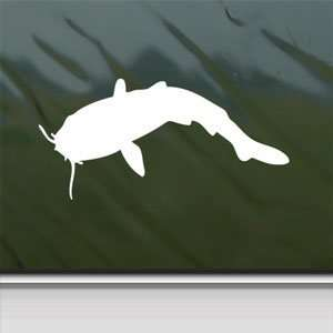 Catfish White Sticker Fishing Car Laptop Vinyl Window