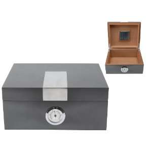 Brink Metallic Grey Cigar Box with Humidor