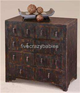 Designer Black Accent Apothecary Chest Dresser Asian Oriental Drawer