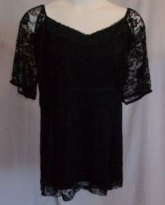 Silhouettes Womens Clothes STRETCH LACE TUNIC TOP Size 3X, Black