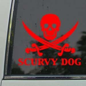 Scurvy Dog Skull Red Decal Car Truck Window Red Sticker