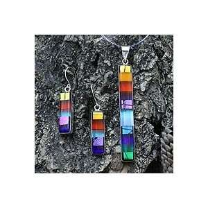 NOVICA Dichroic art glass jewelry set, Rainbow Jewelry