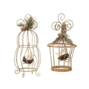 Pack of 4 Winter Solace Birdcage with Pine Sprig Christmas Decorations