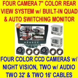 FOUR CAMERA COLOR REAR VIEW BACKUP SYSTEM QUAD 4 NEW