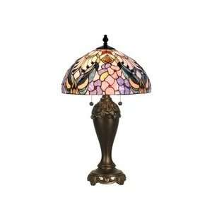 Dale Tiffany Crystal Jewel Peony Art Glass Table Lamp