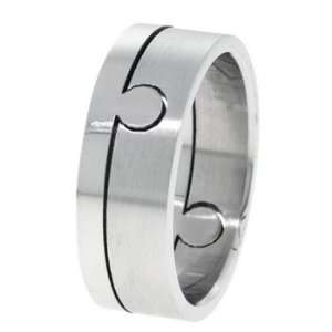 Omega Mens Stainless Steel Puzzle Ring   Size 13