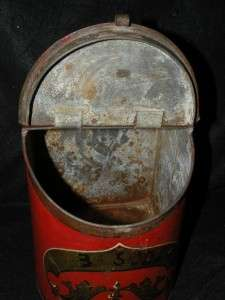 ANTIQUE J HALL ROHRMAN & SON PAINTED TIN TOLE SODA CANISTER BOX