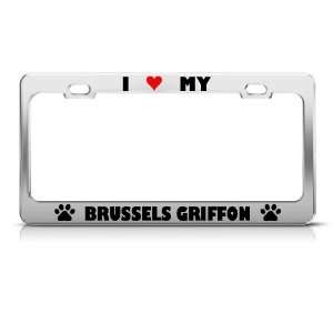 Brussels Griffon Paw Love Heart Dog license plate frame Stainless
