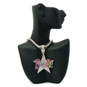 MINAJ BARBIE Star Pendant w/Franco Chain Silver/Multi MP603 Jewelry