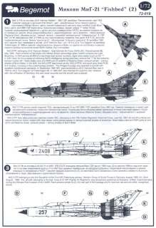 Begemot Decals 1/72 Russian MIKOYAN MiG 21 FISHBED Fighter #2