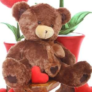 Big Chestnut Brown Valentines Day Cuddly Love Teddy Bear Toys & Games