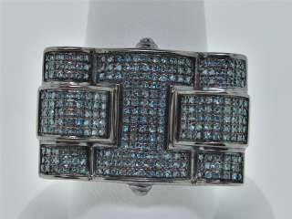 MENS WHITE GOLD FINISH .80 CT BLUE DIAMOND PINKY RING