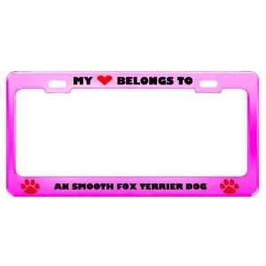 An Smooth Fox Terrier Dog Pet Pink Metal License Plate