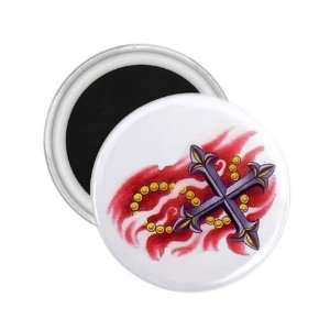 Tattoo Cross Fire Art Fridge Souvenir Magnet 2.25 Free