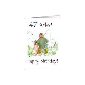 47th Birthday Card with a Man Fishing Card Toys & Games