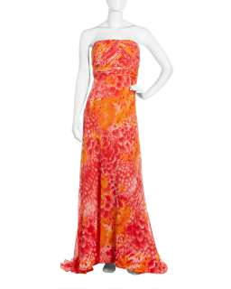 Carmen Marc Valvo Feather Print Strapless Gown